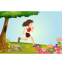 A girl running in a beautiful nature vector image
