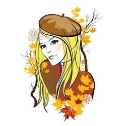 Autumn girl vector image