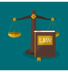 Balance and book of law and justice design vector