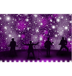 Band show concept with violet light and stars set vector