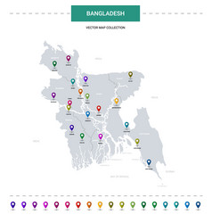 Bangladesh map with location pointer marks vector
