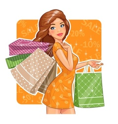 Beautiful girl with packages vector image