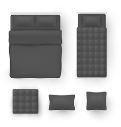 bedding for double size and single beds black vector image