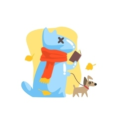Blue Jelly Zombie Dog Monster Walking A Small Pet vector