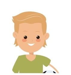 Boy holding soccer ball icon vector