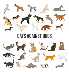 Breed Set Of Dogs And Cats vector