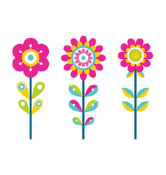 Bright flowers on thin stems of colorful details vector