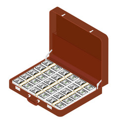brown briefcase with million dollars vector image
