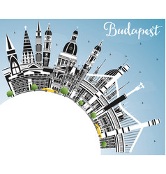 budapest hungary city skyline with gray buildings vector image