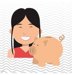 business person with piggy isolated icon design vector image