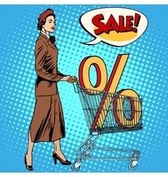 Buyer discounts sale grocery cart vector