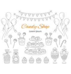 Candy shop hand drawn vector
