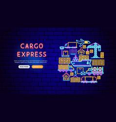 cargo express neon banner design vector image