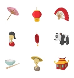 China Republic icons set cartoon style vector image