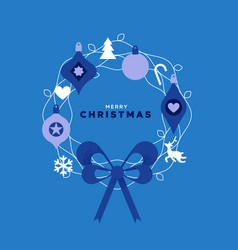 christmas card flat blue color ornament wreath vector image