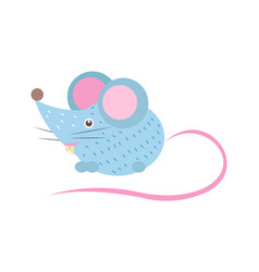 Closeup blue mouse with tail vector