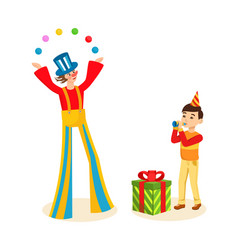 clown entertains audience on cheerful celebration vector image