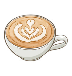 Coffee latte art in a cup vector