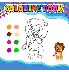 Coloring book lion holding pencil and book vector