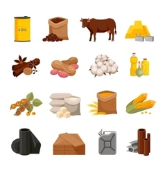 Commodity Flat Icons Set vector image