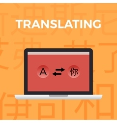 Concept of Translate work momentorange background vector
