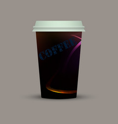 creative coffee plastic cup to go vector image