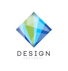 Creative crystal logo template diamond-shaped vector