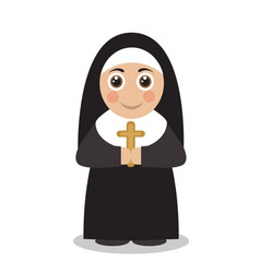 cute nun in black robes vector image