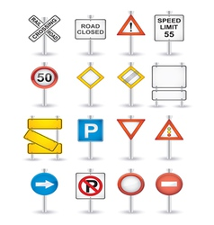 danger road signs set vector image