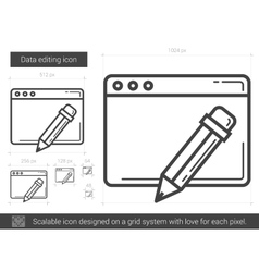 Data editing line icon vector image