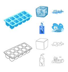 design of texture and frozen logo set of vector image