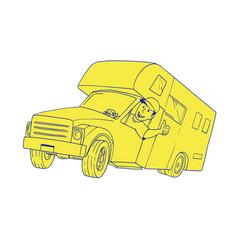 Driver thumbs up camper van cartoon vector