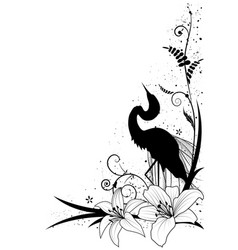 Egret and lily vector