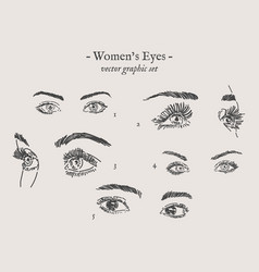 eyes drawings set vector image