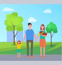 Family parents with kid in park vector