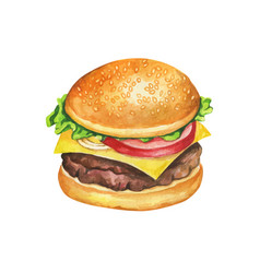 Fast food meal watercolor on white background vector
