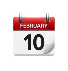 February 10 flat daily calendar icon Date vector