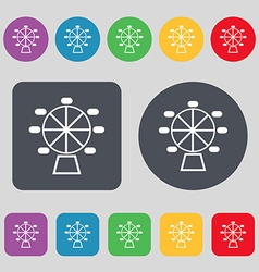 Ferris wheel icon sign A set of 12 colored buttons vector image