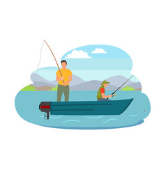 fisherman fishing from boat vector image