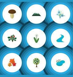 Flat icon bio set of monarch floral pond and vector