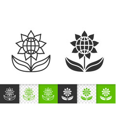 flower simple black line icon vector image