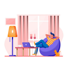 freelancer with laptop in beanbag chair vector image
