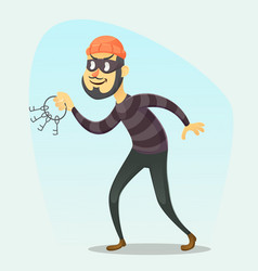 Funny cartoon burglar vector