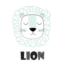 funny kids print lion vector image
