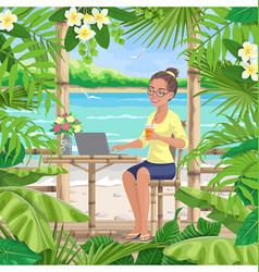 Girl with laptop at tropical coast vector