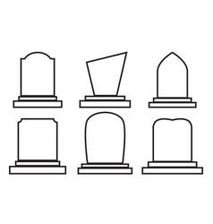 Gravestone set halloween icon isolated on white vector