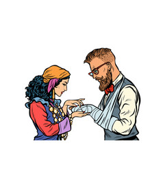 Gypsy palmist and hipster patient with plaster vector