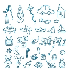Hand drawn toys for boys set of different toys vector