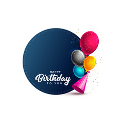 Happy birthday card with balloons and party cap vector