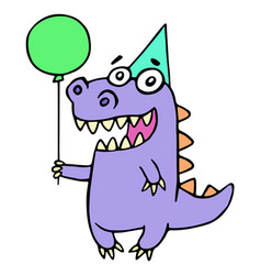 Happy birthday greeting purple dragon vector